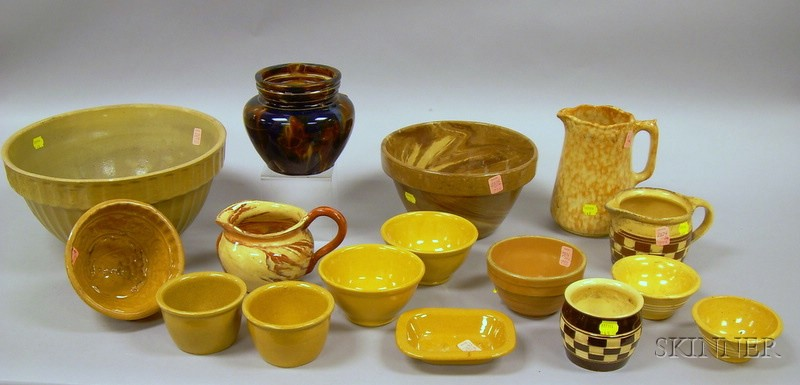 Fourteen Pieces of Glazed Kitchen Pottery, Stoneware, and Yellowware