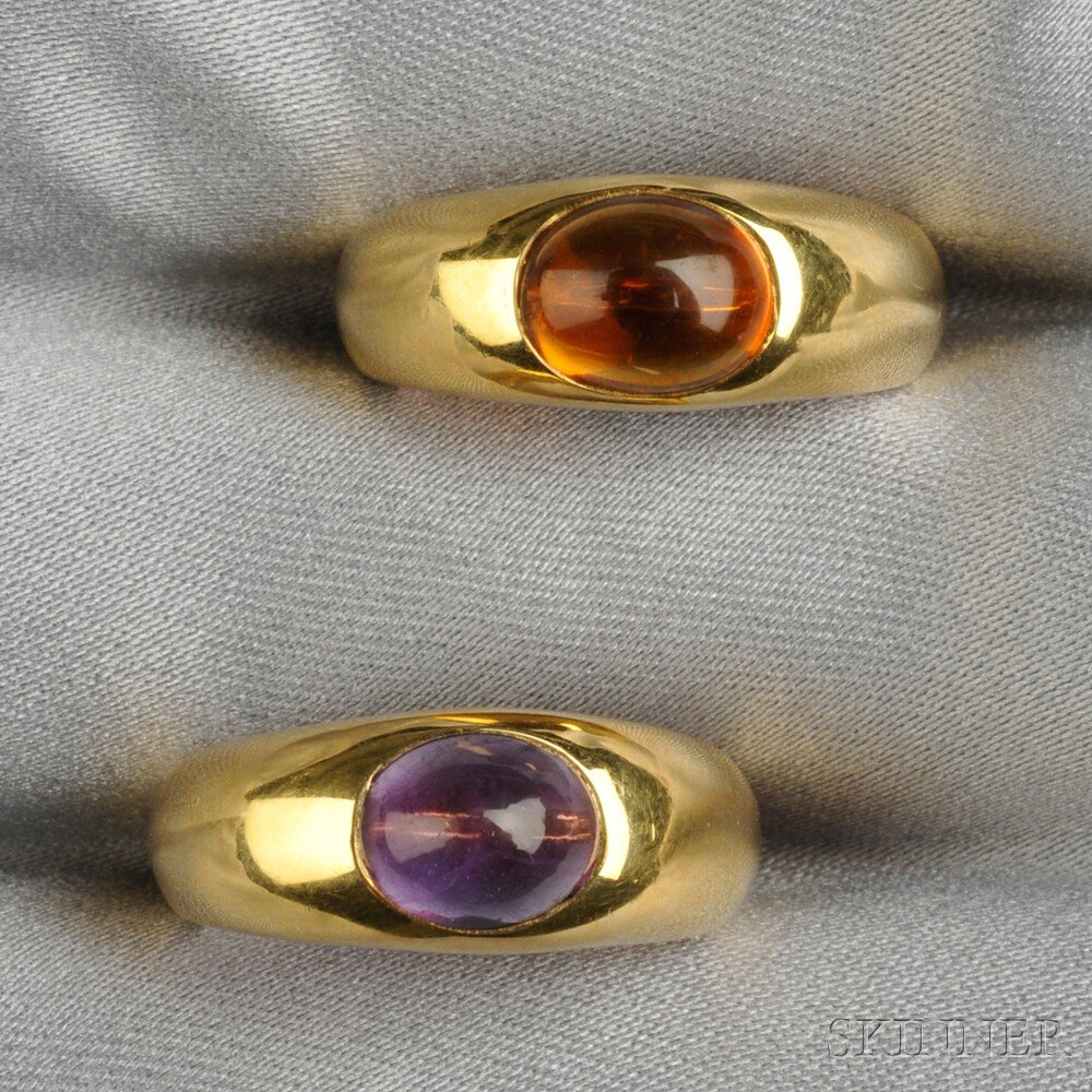 Two 18kt Gold Gem-set Rings, Tiffany & Co.