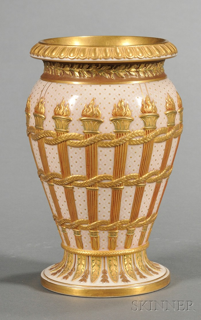Wedgwood Gilt Decorated Victoria Ware Torches Vase