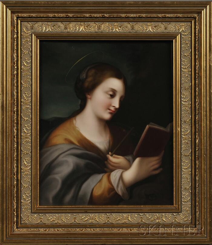 KPM Porcelain Portrait Plaque of a Female Saint