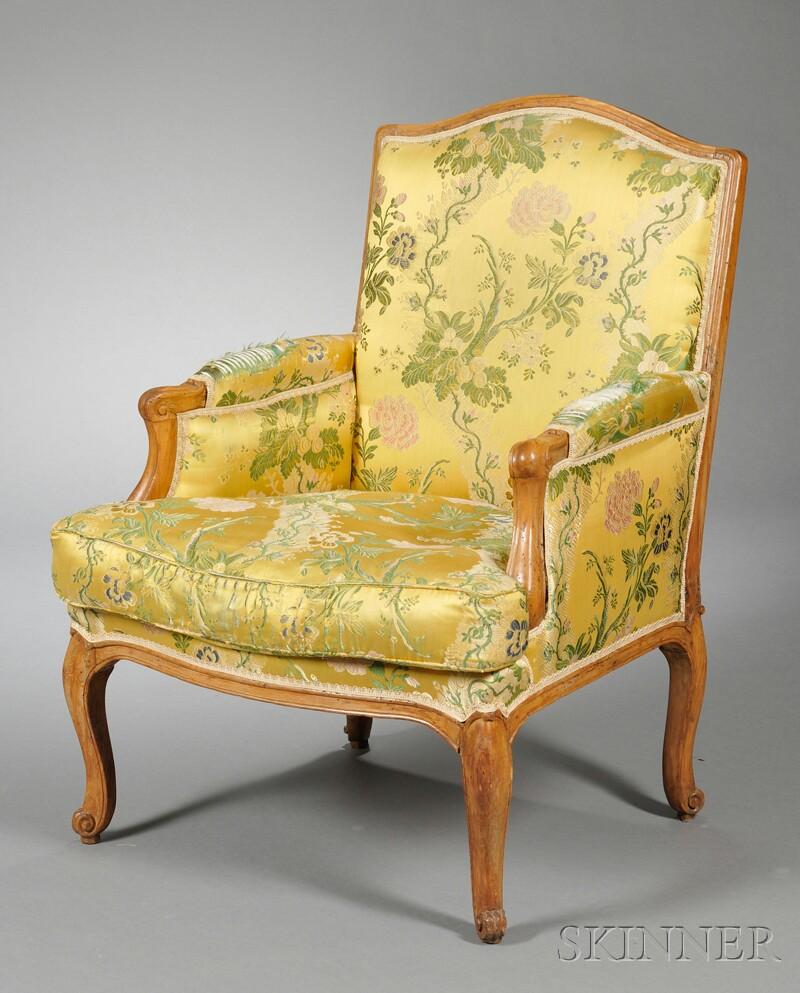 Louis XV Upholstered Beechwood Bergere