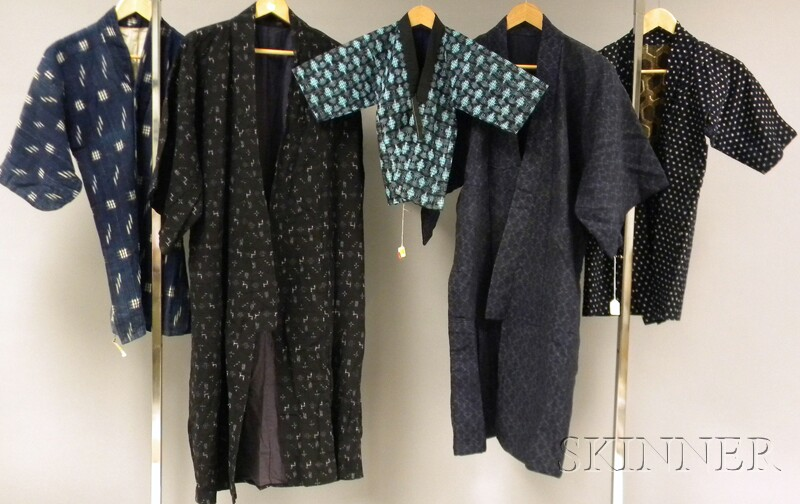 Group of Five Japanese Okinawa Ikat Textiles/Kimonos