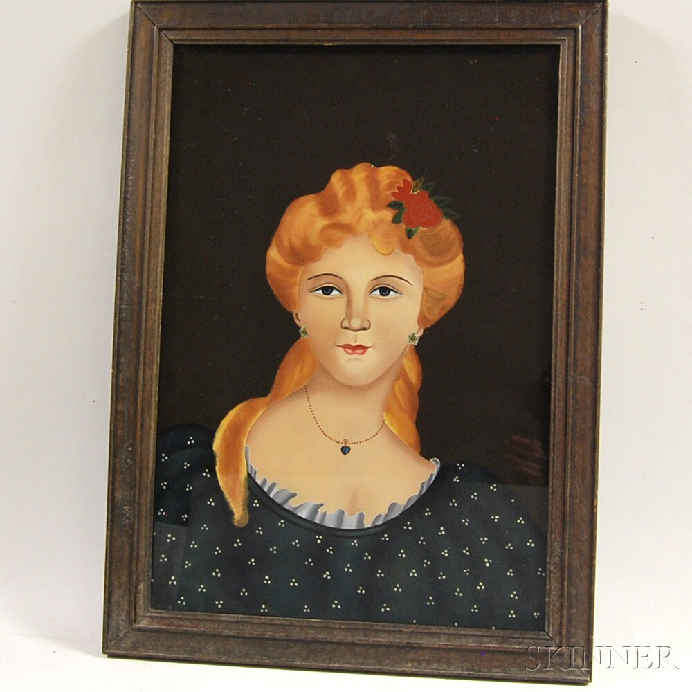 Framed Reverse-painted Glass Portrait of a Woman with a Flower in Her Hair