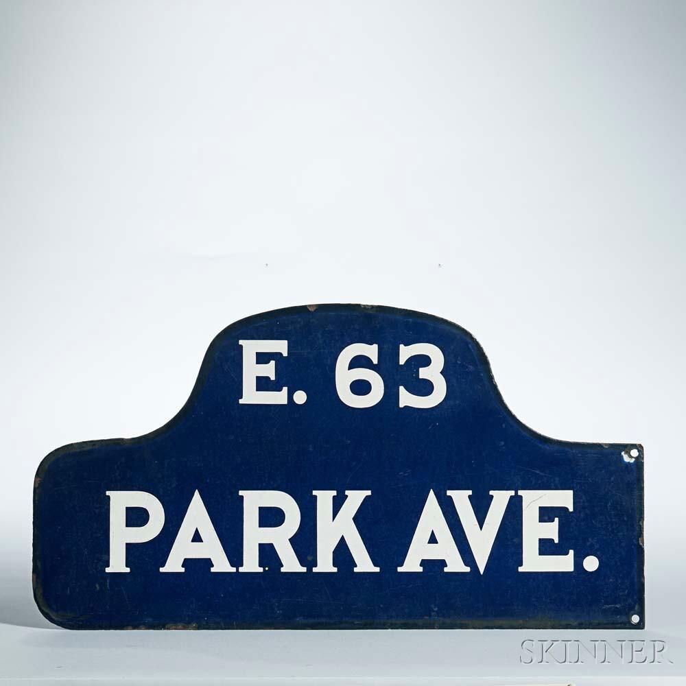Enameled Iron New York City Street Sign