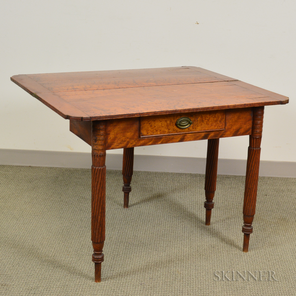 Late Federal Carved and Figured Maple One-drawer Card Table