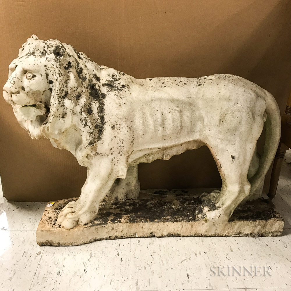 Carved Marble Garden Statue of a Lion