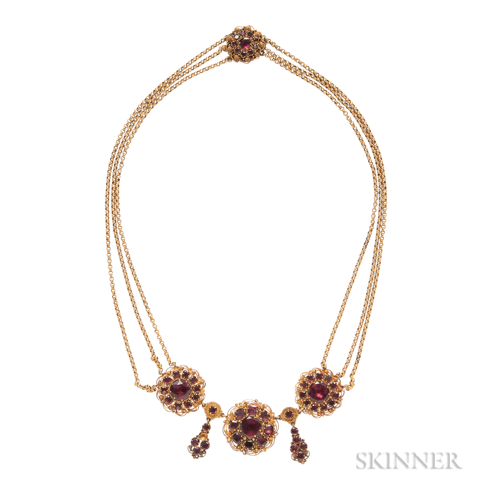 Antique Gold and Garnet Necklace