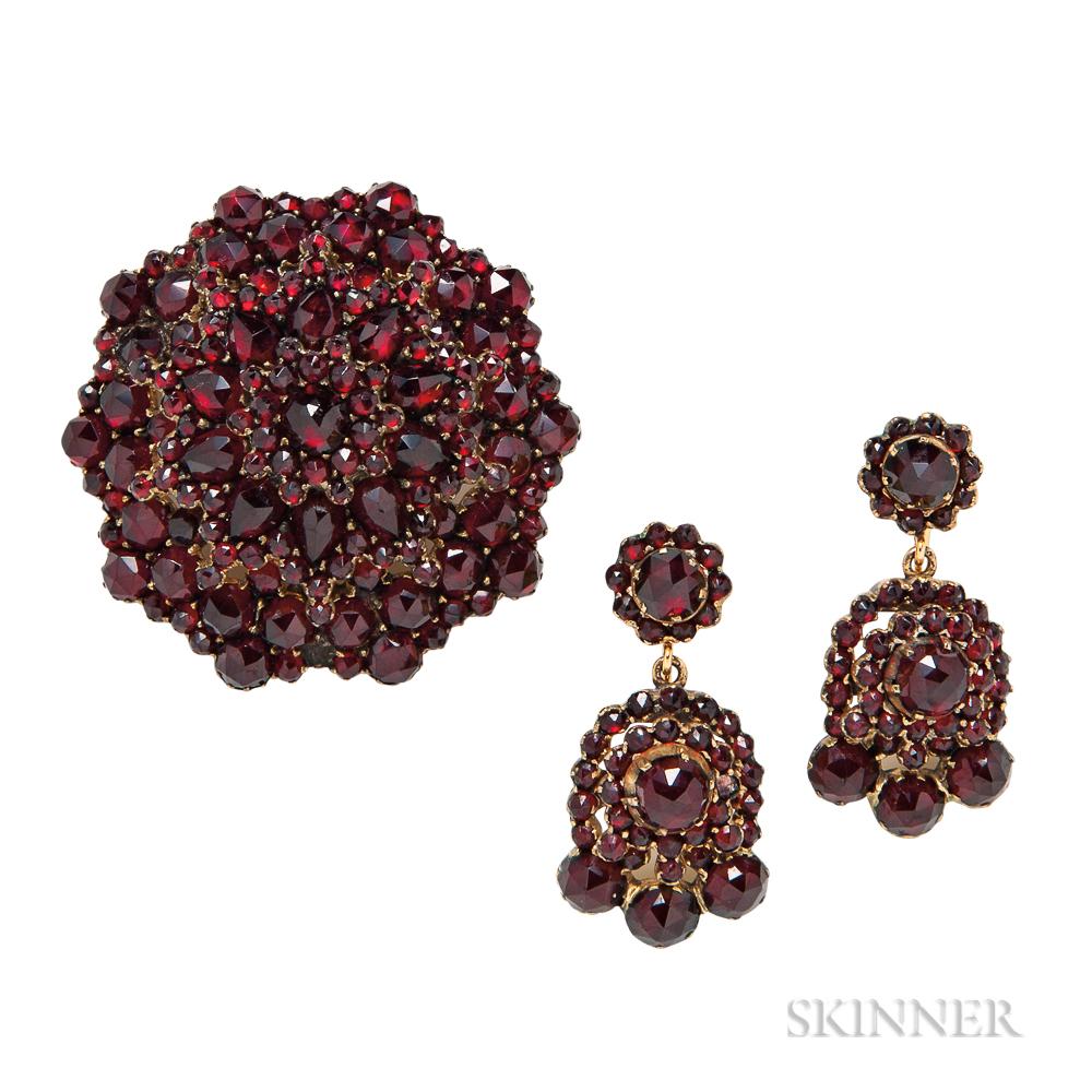 Garnet Brooch and Earrings