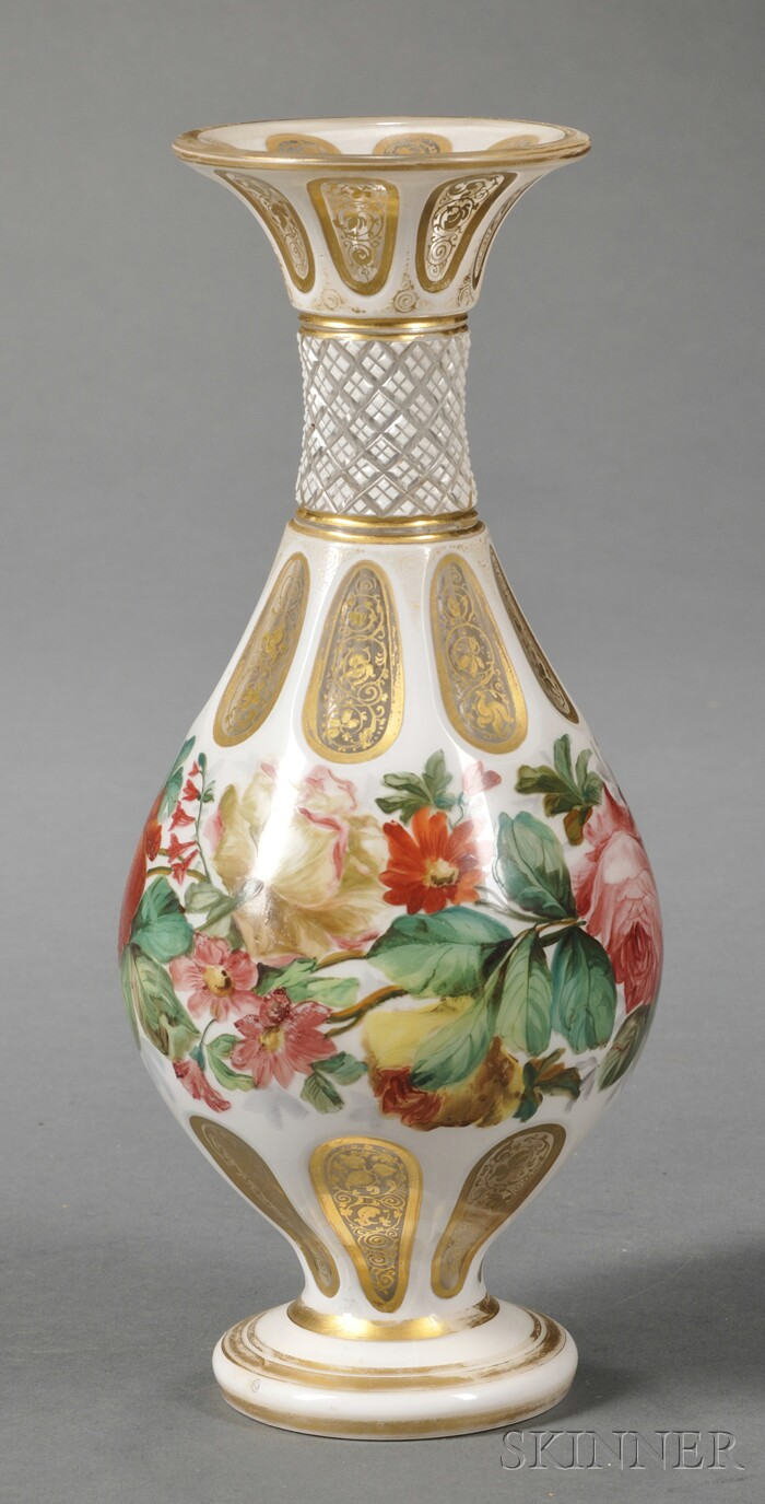Bohemian White-cased Cut-to-clear and Enamel Decorated Glass Vase