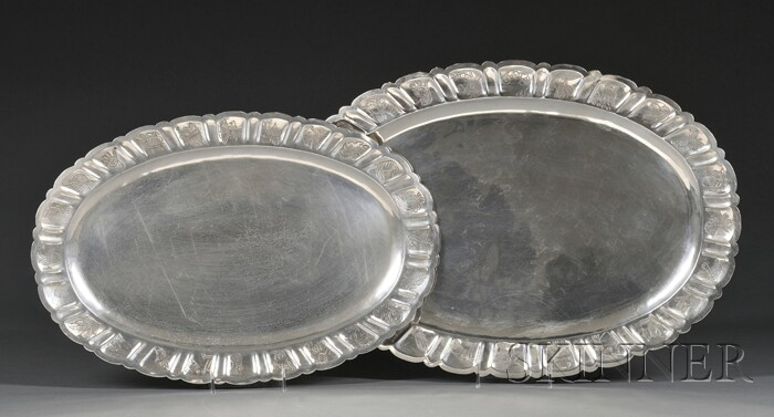 Two Mexican Silver Serving Trays