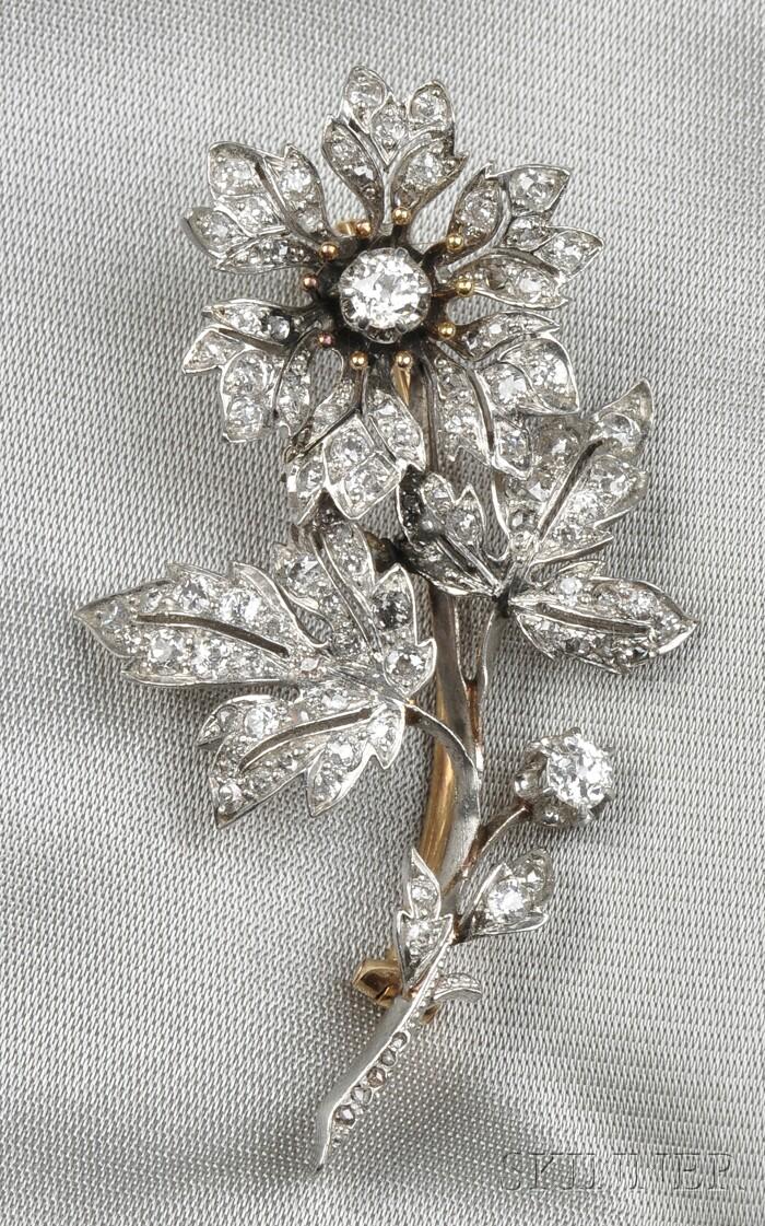 Edwardian Diamond Flower Brooch, Bailey, Banks & Biddle