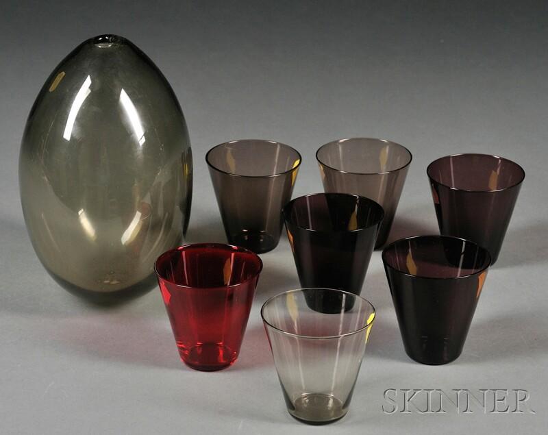 Kaj Franck Vase and Seven Arabia Glasses