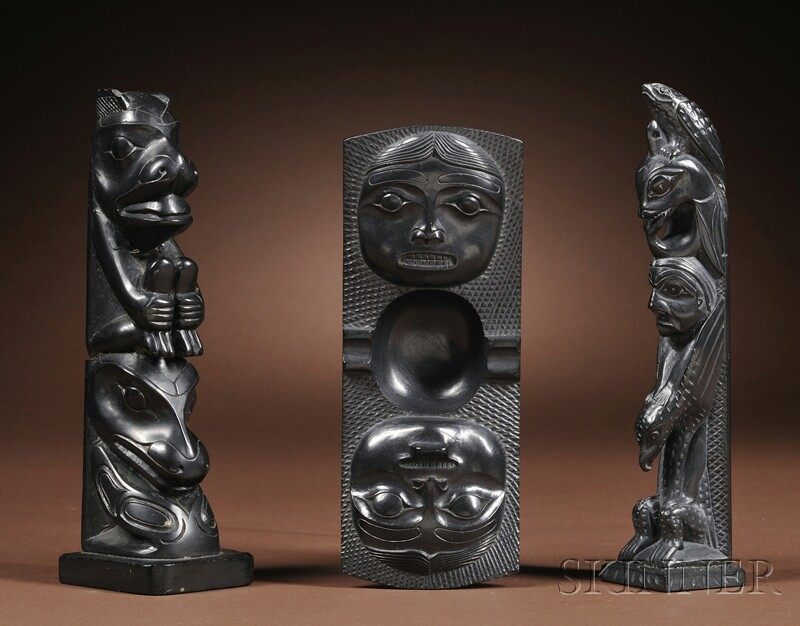 Three Northwest Coast Argillite Carvings