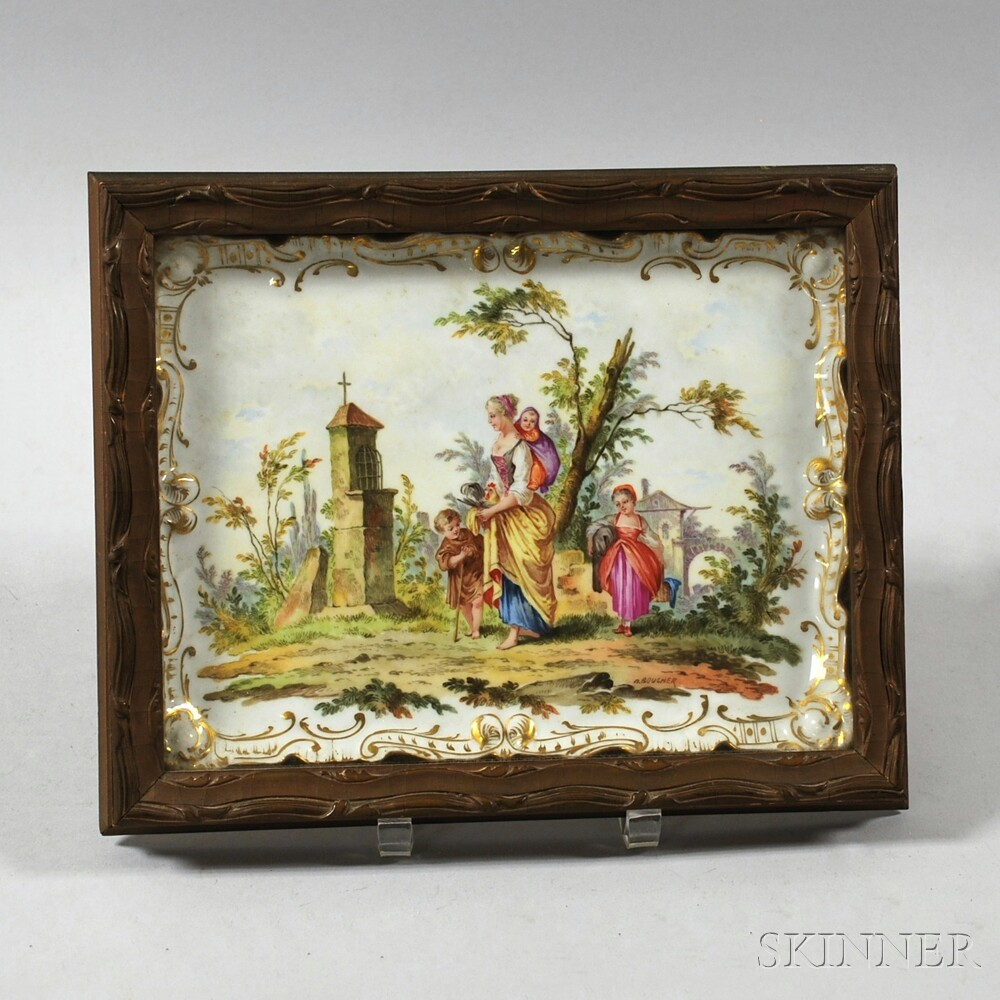 Continental Framed and Hand-painted Porcelain Plaque