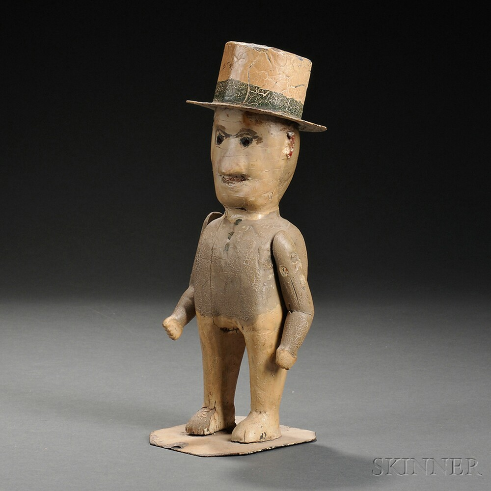 Carved and Painted Wood and Gesso Figure of a Man Wearing a Top Hat