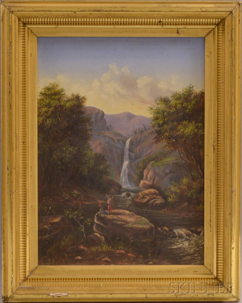 American School, 20th Century       Waterfall Landscape with Native Americans