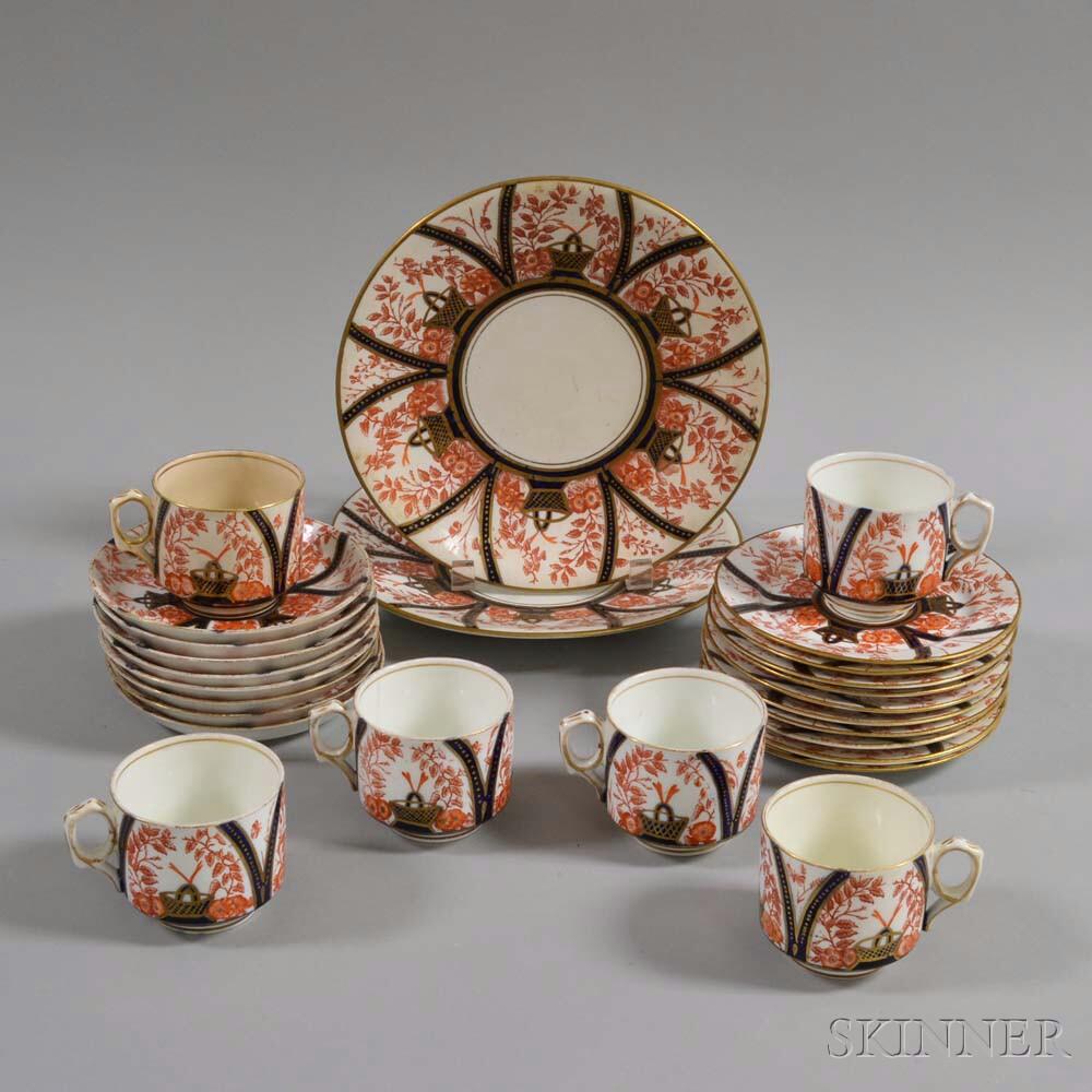 Twenty-six Pieces of English Transfer-decorated Imari-palette Ceramic Tableware