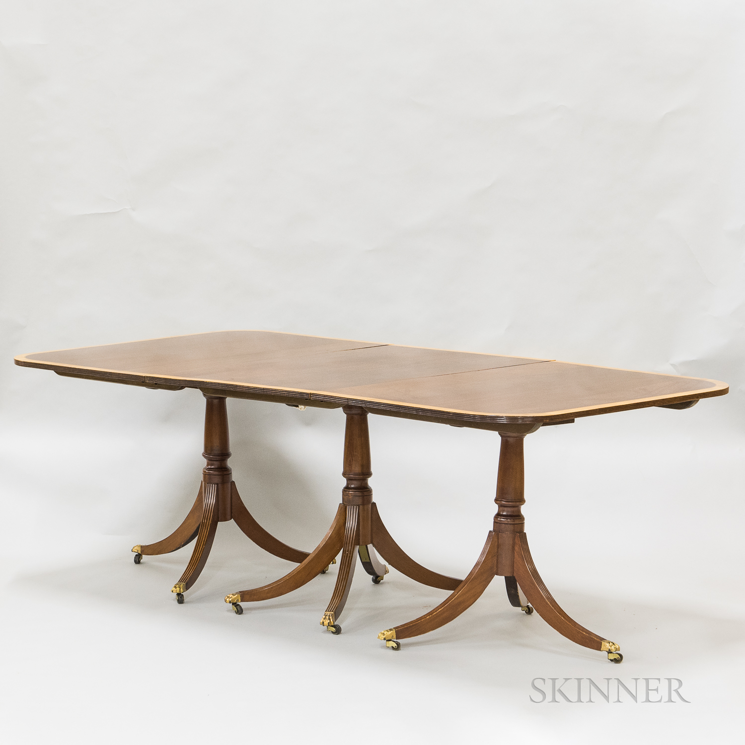 Federal-style Inlaid Mahogany Triple-pedestal Dining Table