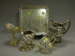 Two Silver Plated Shell Compotes, a Tray, Pitcher, and Teapot