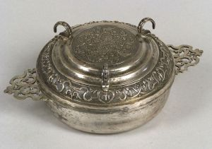 Continental Silver Covered Porringer