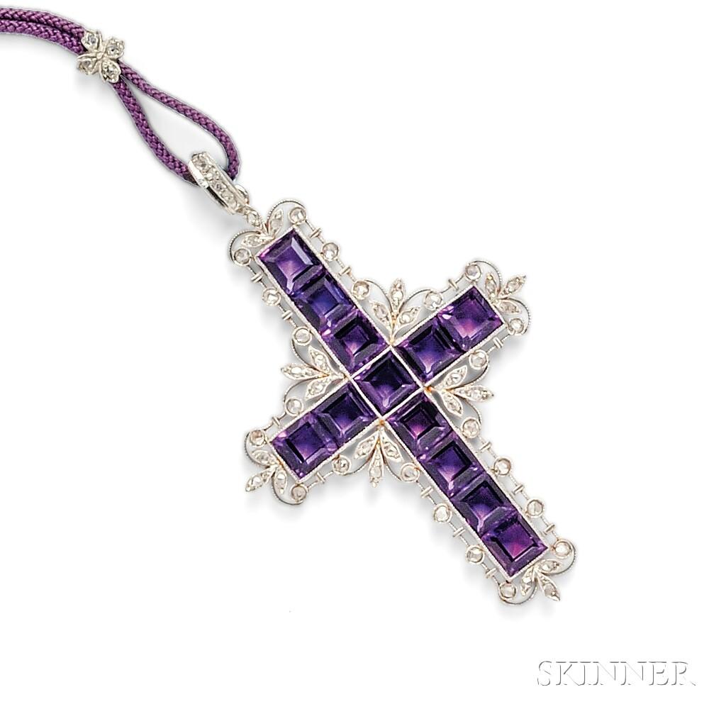 Edwardian Amethyst and Diamond Cross