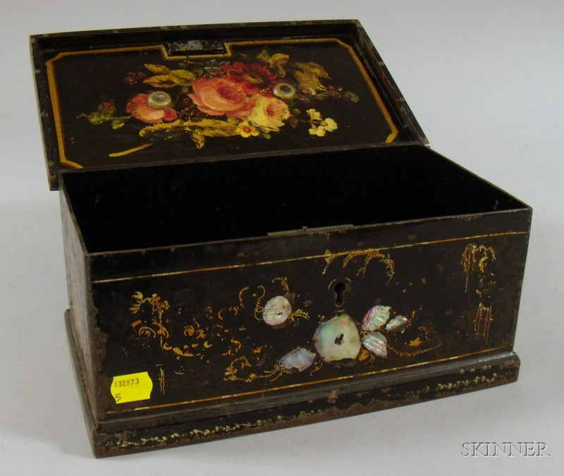 Victorian Mother-of-pearl Inlaid Painted and Decorated Steel Strong Box
