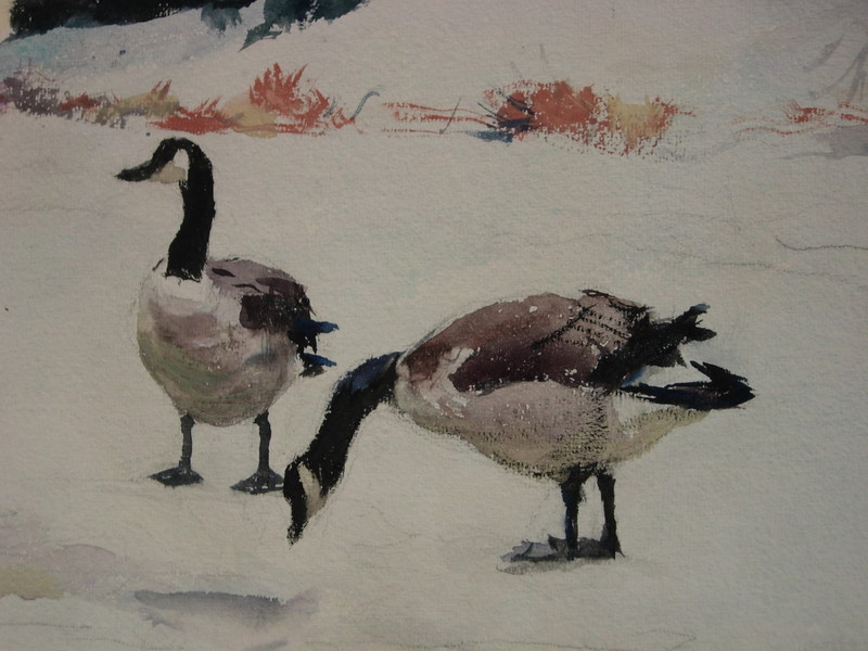 Frank Weston Benson (American, 1862-1951)      Canada Geese in the Snow