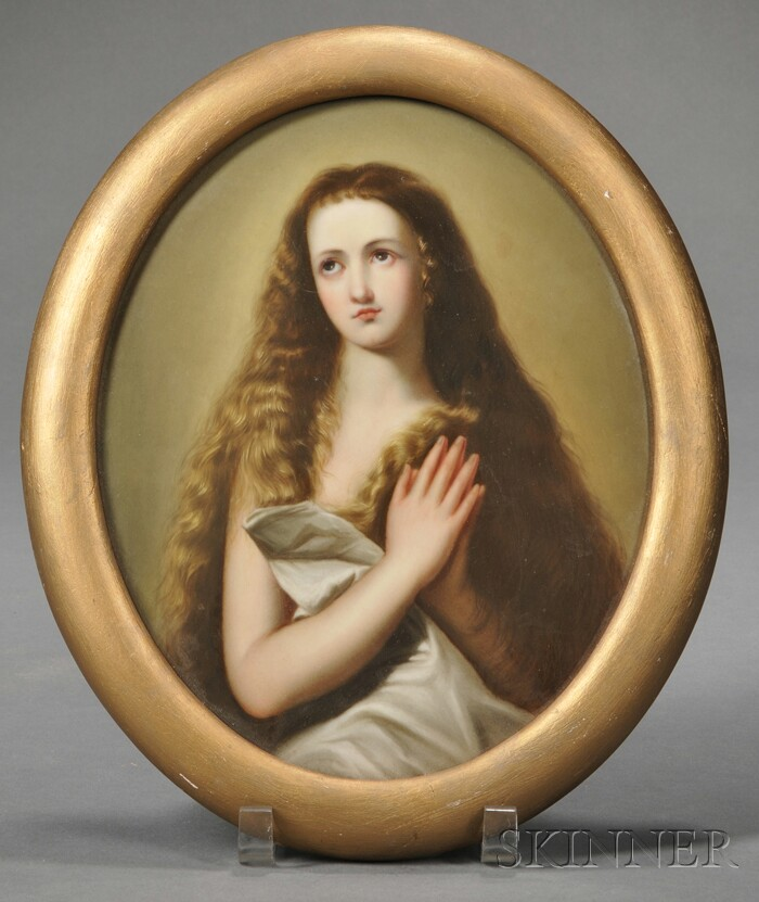 KPM Porcelain Plaque of a Girl with Hands Clasped