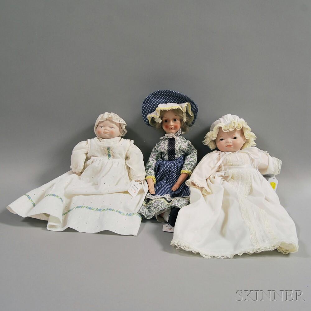 Three Bisque Head Dolls