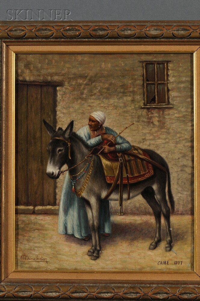 Oskan Chimchidian (Armenian, b. 1867)    Portrait of a Young Man and Donkey