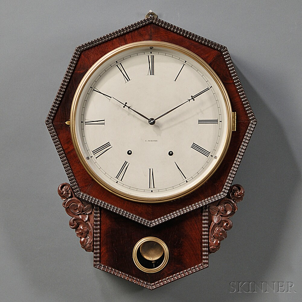 Jerome Ripple Front Mahogany Wall Clock