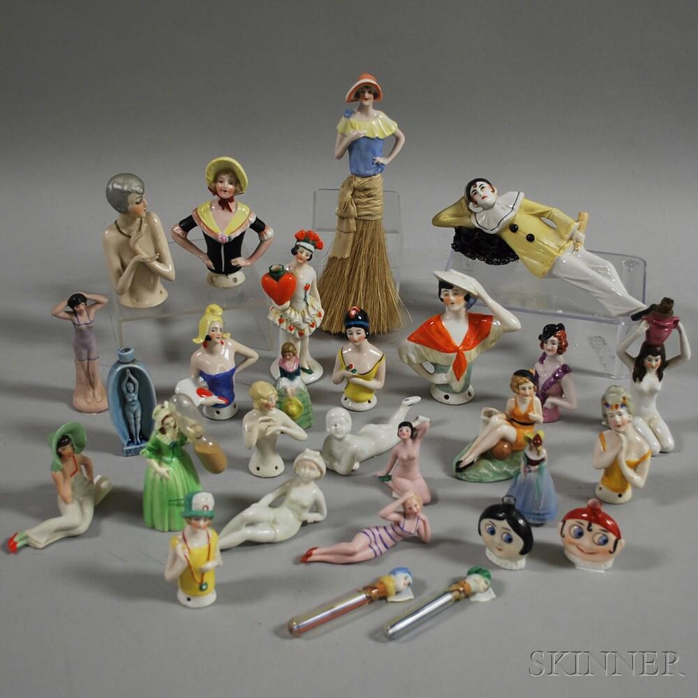 Group of Mostly German Porcelain Figural Brush Tops