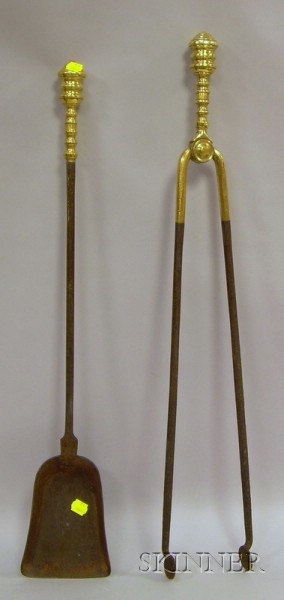 Pair of Empire Brass-handled Steel Fireplace Tools
