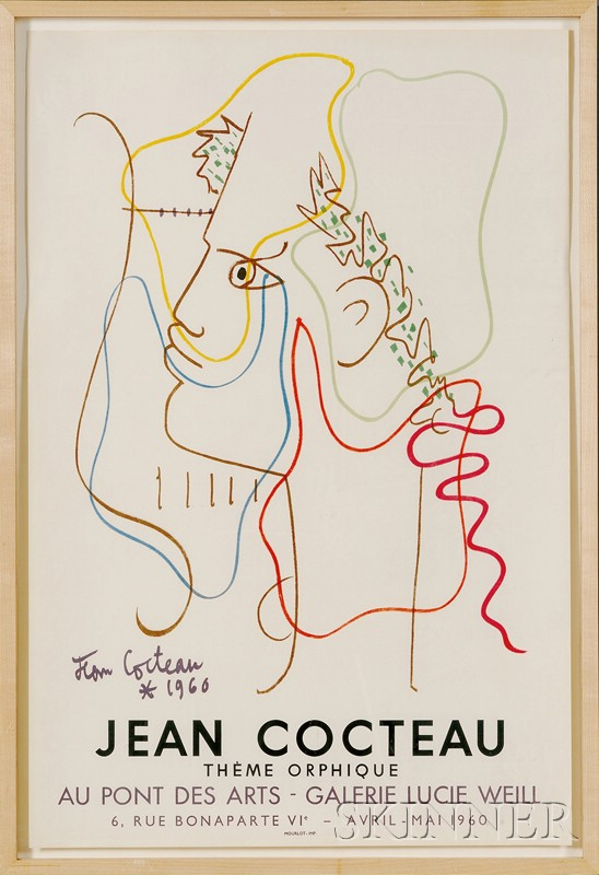 After Jean Cocteau (French, 1889-1963)      Exhibition Poster for Thème Orphique