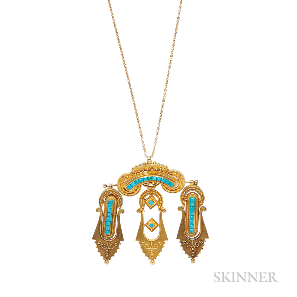 Gold and Turquoise Pendant