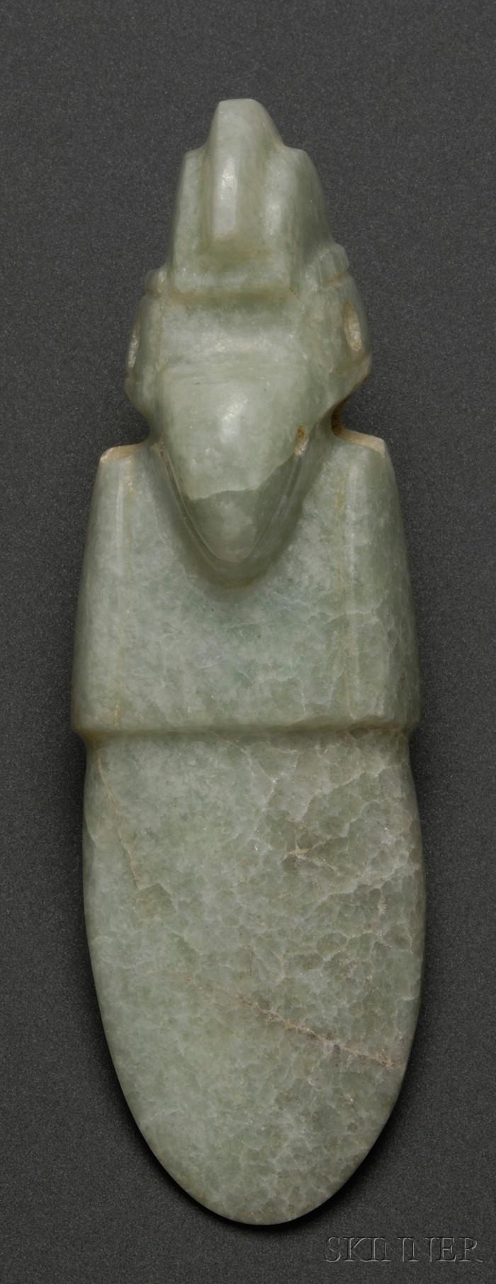 Pre-Columbian Carved Jade Bird Pendant