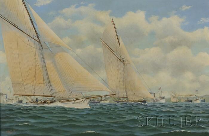 Andrew Bennett (British, 20th/21st Century)      America's Cup 1885 Puritan (Foreground) v. Genesta