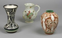 Two Gouda Pottery Vases and A Pitcher