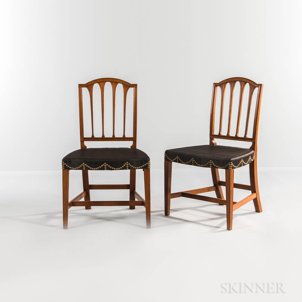 Set of Six Federal Horsehair-upholstered Square-back Side Chairs