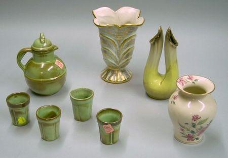 Five Piece Frankoma Pottery Demitasse Tea Set A Stangl Vase A
