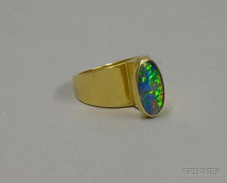 Modern Artist Designed 14kt Gold and Opal Ring