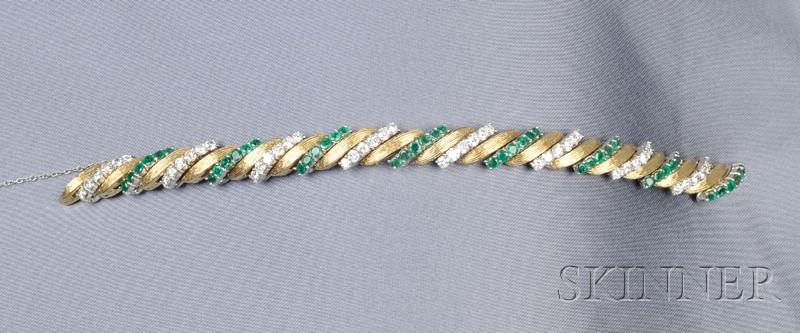 18kt Gold, Platinum, Emerald and Diamond Bracelet