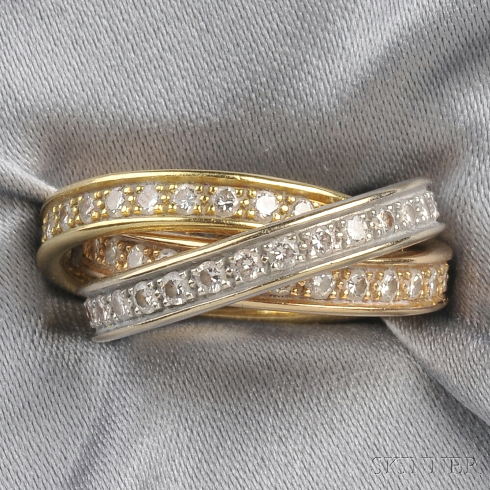 "18kt Tricolor Gold and Diamond ""Trinity"" Ring, Cartier"