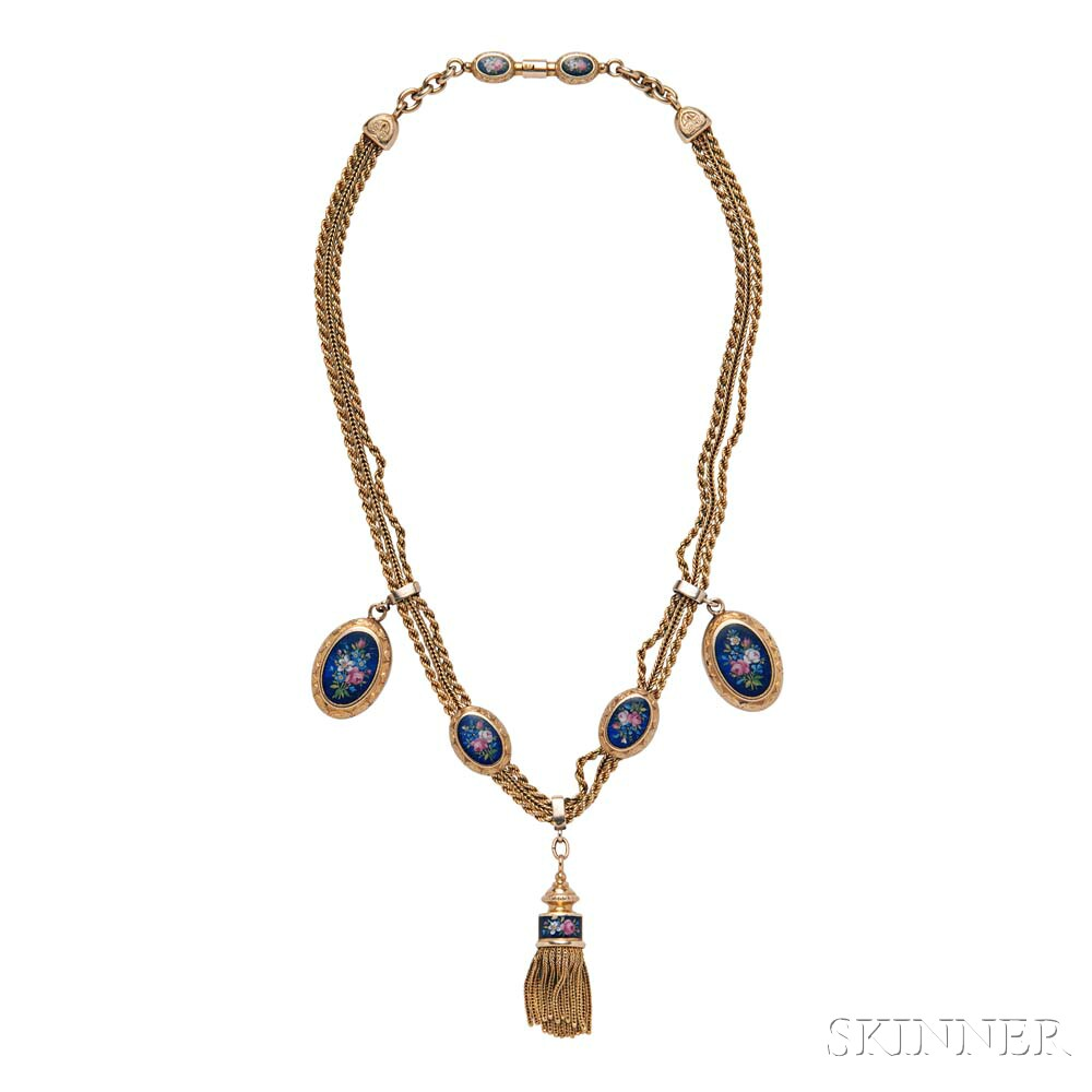 14kt Gold and Enamel Necklace