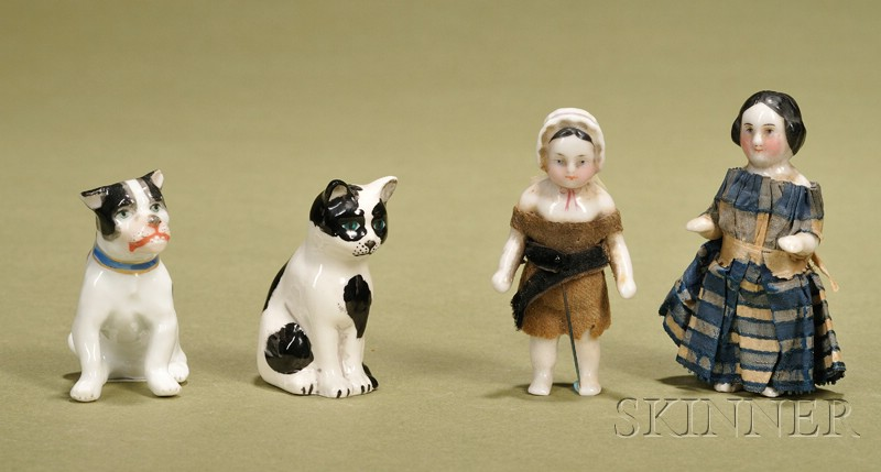 Four Small Glazed Porcelain Figures