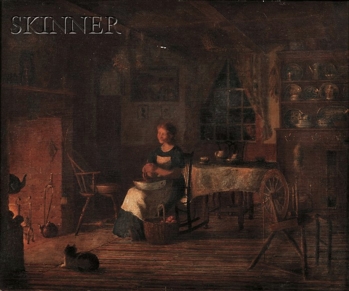 American School, 19th Century      Interior with a Young Woman Paring Apples by Fire Light