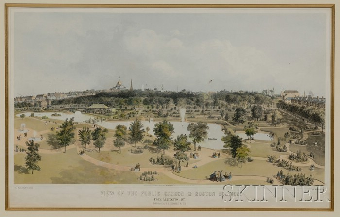 J.H. Bufford, lithographer, P.R. Stewart & Co., publisher      VIEW OF THE PUBLIC GARDEN & BOSTON COMMON FROM ARLINGTON ST.