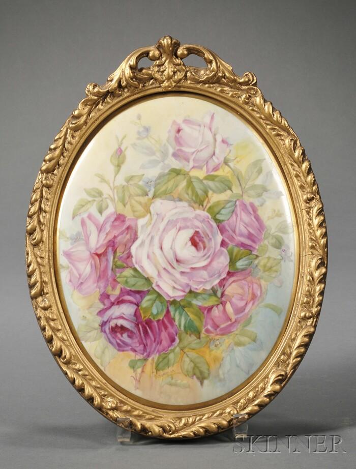 English Hand-painted Porcelain Plaque