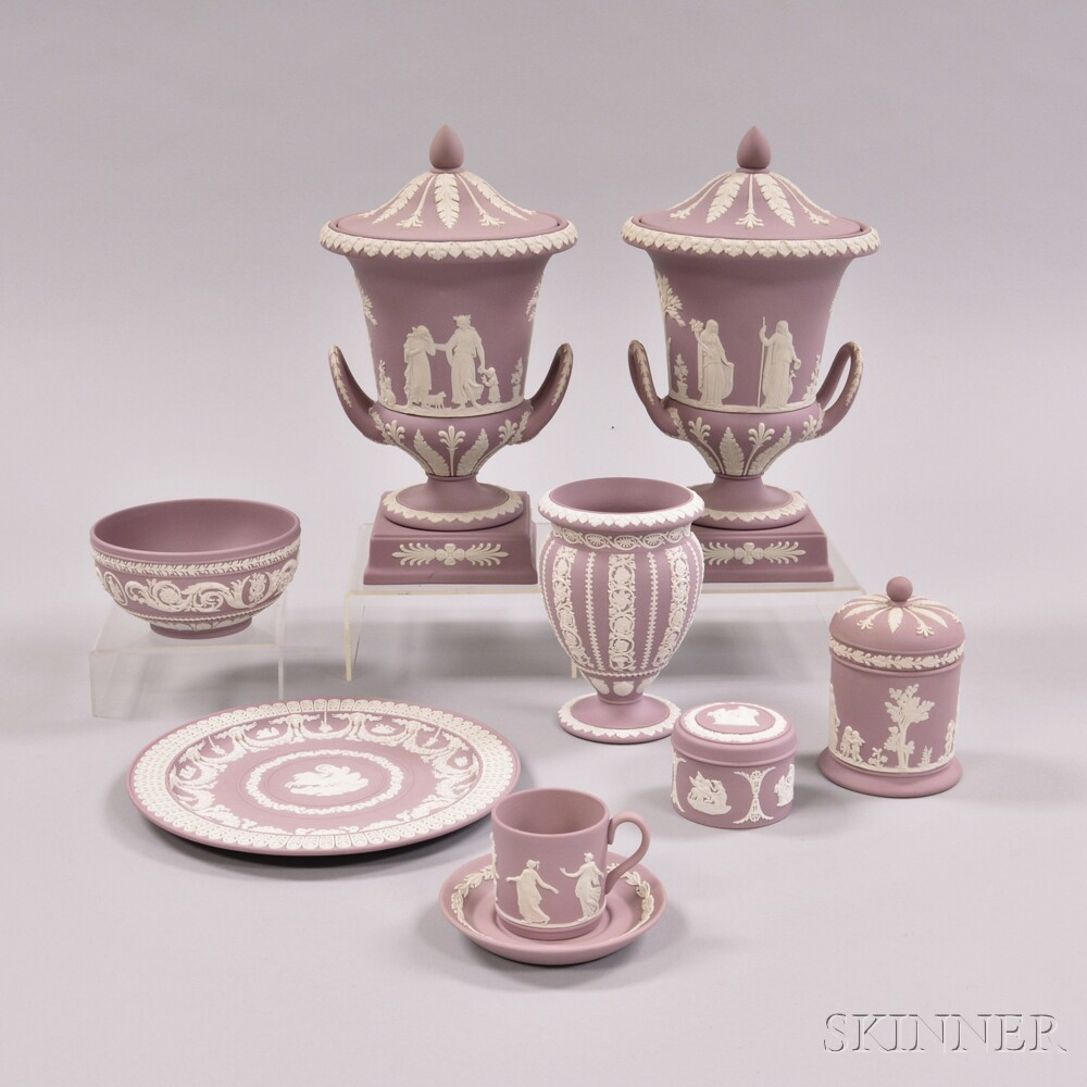 Nine Modern Wedgwood Lilac Jasper Items.
