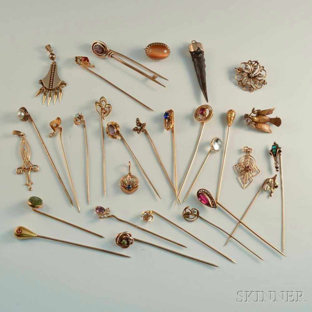 Approximately Twenty-five Gold Stickpins